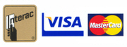 We accept Interac, Visa and Mastercard too